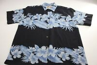 Vintage Silk 1969 100% Silk Floral Blue CAMP SHIRT Large L