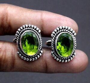 "925 Sterling Silver Green Peridot Gemstone Handmade Jewelry Cuff Links Size-1"""