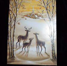 Vtg CHRISTMAS Greeting Card JAMES COX Deer Doe Church Famous Artist Studio NOS