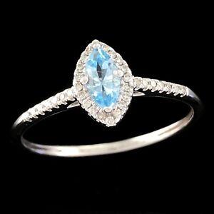 MICHAEL HILL 10K 417 White Gold Marquise Cut Blue Topaz & Diamond Halo Ring