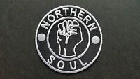 MOD SKA SCOOTER SEW ON / IRON ON PATCH:- NORTHERN SOUL (d) KEEP THE FAITH BLACK