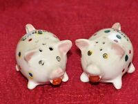 Vintage Canada Pigs Salt & Pepper Shakers Hogs with Spots & Dots Ceramic Japan