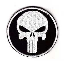Army Tactical Morale Biker Patch Punisher Skull Silver-Black Color Hook & Loop