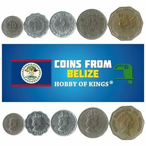 5 DIFFERENT COINS FROM BELIZE. CENTRAL AMAERICAN OLD COLLECTIBLE CENTS, 1 DOLLAR