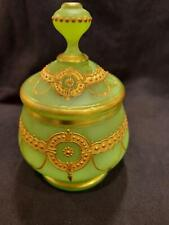 French or Bohemian Opaline Glass Box w Lid Green Vaseline with Intricate Gold