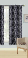 1PC GROMMET PANEL PRINTED LINED BLACKOUT WINDOW CURTAIN MIDNIGHT IN BLACK IVORY