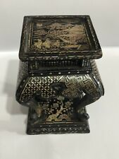 Antique Chinese Lac Burgaute Mother Of Pearl Miniature Stand