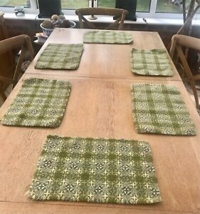 6 Vintage Green & Cream Traditional Welsh Wool Tapestry Placemats 1960/70's