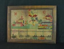 Antique Needlework Sampler (Berlin) Buildings, and a Train! Ca. 19th Century