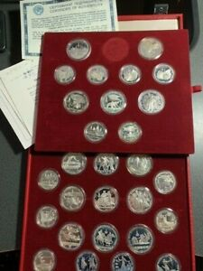 Russia USSR 1980 Moscow Olympics 20.24 Oz Silver 28 COIN GEM Proof Set,BOX & COA