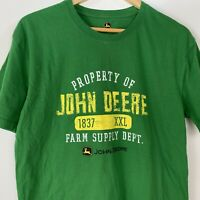 John Deere Mens L T Shirt Green Short Sleeve Cotton Farm Supply Tee Shirt Large