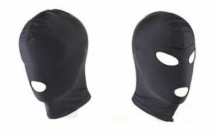 Maske Kopfmaske 1/3 Loch Bondage BDSM SM Mund Augen Öffnung Elastisch Schwarz