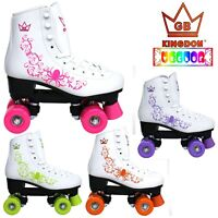 NEW KINGDOM VECTOR VENUS QUAD DISCO ROLLER GIRLS SKATES PINK ORANGE BLACK WHITE