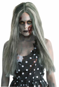 WOMENS CREEPY LADY ZOMBIE LONG STRAIGHT DIRTY HAIR WIG COSTUME FM66462