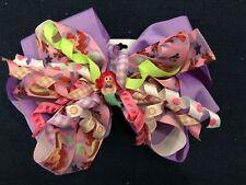 New 6� Custom Boutique Stacked Hairbow Disney World Little Mermaid Ariel Purple