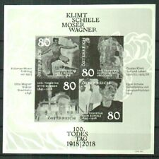 GUSTAV KLIMT, EGON SCHIELE BLACK PRINT PROOF SHEET MNH