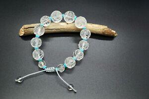 Natural Clear Quartz Bracelet Rock Crystal Carved Shou Dragon Graduated Bracelet