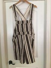 Vintage 1990s 1980s Retro Skoozi Overalls Short Women Large Brown White Striped