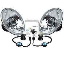 """7"""" LED Crystal Clear Projector Headlight 4000Lm 6k H4 Light Bulb Headlamp Pair"""