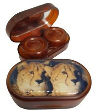 Endangered Species Mirror Case Contact Lens Soaking Storage Case - Cheetah