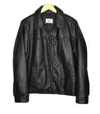 Dockers Dark Brown Faux Leather Men's Bomber Jacket Size Small