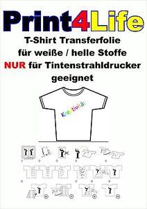 20 Bl. T-Shirt Transferfolie Inkjet für helle Stoffe klar durchsichtig Tinte A4