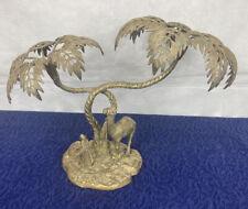 More details for large brass palm tree camel nomad sculpture statue 1.8 kg