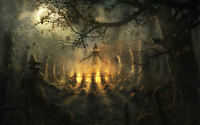 Framed Print - Pagan Halloween Ritual (Picture Paganism Fantasy Folklore Art)