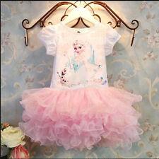 Cartoon Princess Baby Kids Girl Frozen Elsa Tops Party Tutu Cake Dress Sundress