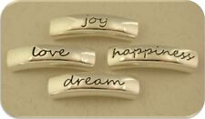 "2 Hole Beads Engraved Bars ""Happiness Dream Love Joy"" Silver Metal Sliders QTY 4"