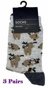 3 Pairs of Ladies Sloth Print Ankle Socks Grey One Size UK 4-7