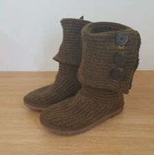 Ugg Classic Cardy Knit Brown Boots Size UK 5.5