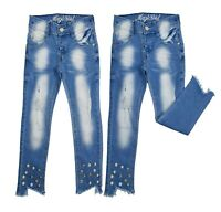 Kids Girls Skinny Pearls Jeans Denim Ripped Fashion Stretchy Pants 3-14 Years