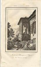 Stampa antica ARQUA Casa di PETRARCA Padova Veneto 1835 Old antique print
