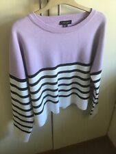 NEW LOOK LILAC CONTRAST STRIPE JUMPER TOP SIZE LARGE