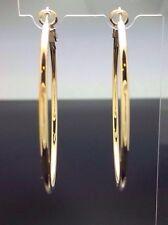 6.5cm Extra Large Hoop Round Big Plain Earrings 14ct Gold GF PIERCED Wedding