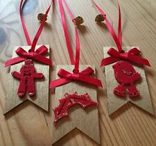 3 X Christmas Gift Tags Hanging Decorations Parcel Present Tag Handmade Gold Red