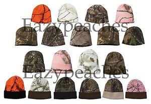 "Realtree All Purpose Mossy Oak Break Up White Snow CAMO Beanie Cap Hat 8"" or 12"""