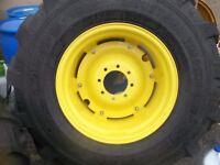 TWO New 19.5Lx24 R4 T/L 12 Ply Kubota,  John Deere Farm Tractor Tires w/Wheels