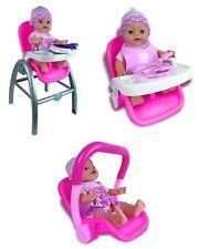 3 IN 1 GIRLS BABY DOLL HIGHCHAIR CAR SEAT DOLLY TRAVEL FEEDING ROLE PLAY