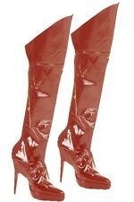 Red Wet Look Boot Covers Dominatrix S+M Kinky Sexy Fancy Dress Accessory