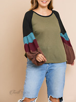 Umgee   Olive Colorblocked Long Puff Sleeve Waffle Knit Plus Size Top   NWT