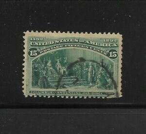 US Scott #238 used 15c green Columbian Expo issue 1893 light cancel fault at bot