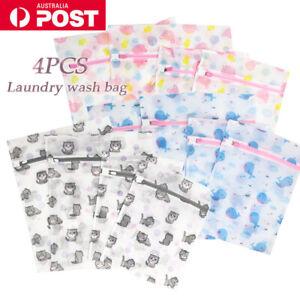 4PCS Cute Delicates Wash Bag Laundry Lingerie Bra Washing Pack Set Clothes Case