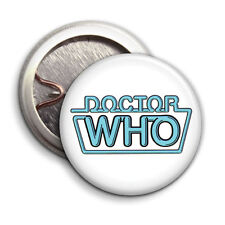 Dr Who Retro Neon Logo - Button Badge - 25mm 1 inch - Parody Style