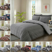 4 Piece Bedding Set with Duvet Cover PillowCases Fitted Sheet Single Double King