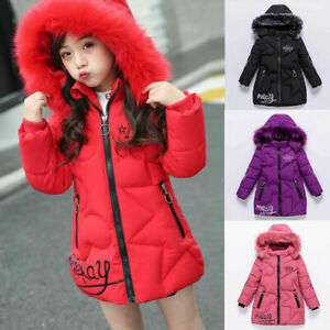 Girls Thick Coat Kids Hooded Padded Thick Parka Long Fur Warmer Jacket Winter