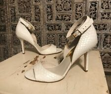 Womens Michael Kors White Leather Snake Skin Open Toe Ankle Strap 3.5 Inch 7 M