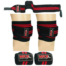 Weight Lifting Knee Wraps Wrist Support Bandage Straps Pair MRX Set Red / Black