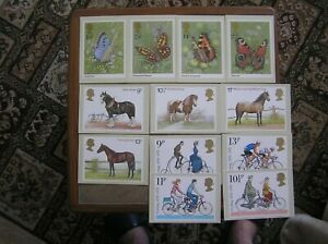 THREE SETS OF 1970s PO PHQ CARDS: CYCLING; HORSES; BUTTERFLIES: VG CONDITION